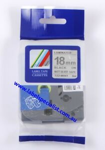 Laminated Brother P-Touch TZe-M941 compatible18mmx8m Black-On-Matt SilverTape