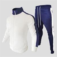 Mens thin Tracksuit 2 Piece Casual Pants Sweater Jacket Sweatsuit Sport Set