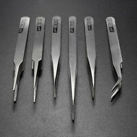6Pcs Pro Anti-Static Stainless Steel Tweezers Set Maintenance Tools Pro Dzjo