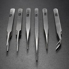 6Pcs Pro Anti-Static Stainless Steel Tweezers Set Maintenance Tools Pro Gift