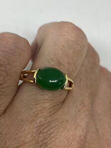 Vintage green Jade Golden Ring Size 6