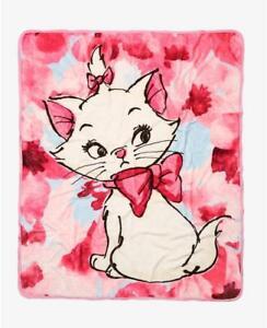 "Disney The Aristocats Marie Cat 50""x60"" Soft Fleece Throw Blanket Pink Floral"