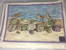 "Hearth & Home ""Birds & Clams"" Set of 12 Placemats 100% Cotton"