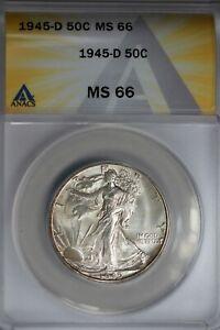 1945-D  .50   ANACS   MS 66   Walking Liberty, Half Dollar, Lady Liberty Half
