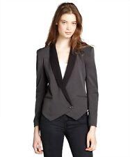 GEMMA Charcoal / Black Contrast Colorblock Single Button Blazer, Medium