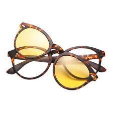 Retro Frame Glasses With Clip-on Magnetic Lenses Sunglasses Polarized UV400 New