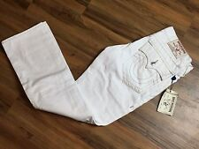 NEW TRUE RELIGION Men's Straight w/ FLAPS ASCOT GREY OPTIC WHITE JEANS Sz 33X33