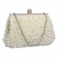 Ivory Pearl Beaded Vintage Style Clutch Bag Wedding Prom Party Evening Bag New