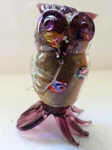 Murano Glass Vintage OWL - Millefiori & Gold Aventurine Inclusions - Orignal Box