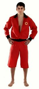 Mens One Size 80s Lifeguard Red Jacket Shorts Fancy Dress Costume Outfit