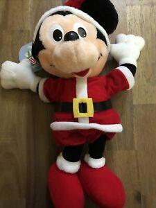 "MICKEY MOUSE PLAYSKOOL DISNEY PLUSH STUFFED ANIMAL 1988 16"" CHRISTMAS SANTA VTG."