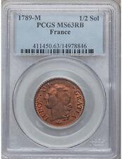 France: Louis XVI 1/2 Sol 1789-M PCGS MS63 RB Rare condition