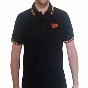 David Bowie 'Flash Logo' Embroidered Polo Shirt *Official Merch*