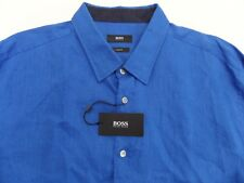 NWT $165 Hugo Boss Slim Fit Blue Linen Shirt Mens 2XL Ronni _2 NEW