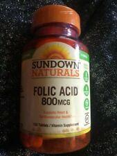 Sundown Vitamins, Folic Acid 800 Mcg Tablets,100 ct tablets no dairy gluten free