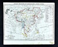 1847 Flemming Map - Spread of Buddhism - Asia China Japan Tibet Burma Nepal Siam