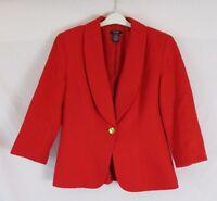 Bob Mackie Studio Womens 8 Red Textured Button Lined Career Jacket Blazer EE329