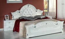 Bettgestell Doppelbett Klassisches Bett Weiß-Silber Hochglanz 180x200 Stilmöbel