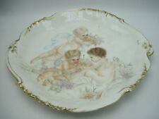 Large Antique Limoges Scalloped Platter with Cherubs Putti Artist Signed 1895