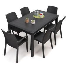 Tavolo da pranzo rettangolare esterno grigio antracite con sedie e poltroncine