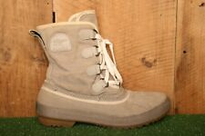 SOREL 'Tivoli' Beige Canvas Unlined Ankle High Duck Boots Sz. 8 - Minor Flaw