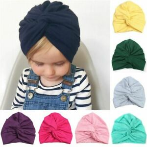 Baby Hat Cotton Turban Knot Girl Kids Newborn Cap Solid Patterned Head Accessory