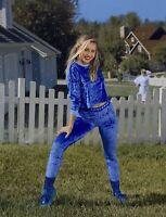 Converse x Miley Cyrus Womens Velvet Long-Sleeve Crop T-Shirt Blue Sizes XS S L