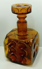 Vintage Norleans Amber Glass Dice Decanter Italy Die Rare