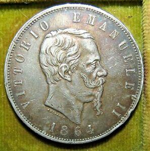 ITALIE 5 Lire Victor Emmanuel II 1864 Naples Argent Silver Napoli Italy