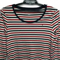 Tommy Hilfiger Womens XL Striped Pullover Shirt Long Sleeve Red White Blue