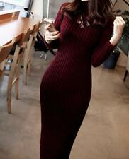 Women's Knitted Sweater Dresses Tops Long Sleeve Winter Warm High Collar Loose