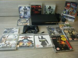 SONY PLAYSTATION 3 SUPER SLIM 500GB BUNDLE CONSOLE CONTROLLER AND 18 GAMES