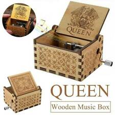 Kids Christmas Gift Wooden Engraved Hand Crank Queen Music Box Kids Birthday Toy