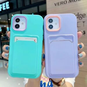 Shockproof Case Cover With Card Holder for iPhone 13 Pro Max 12 11 XR X Silicone