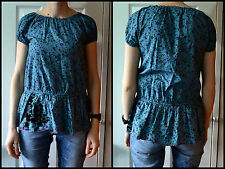 Blouse Catimini size 10 green floral women's girl Tops & Shirts boat neckline
