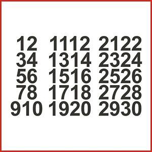 Sticky Back Vinyl Numbers 1-30 Arial 10/15/20/30/40/50mm doors signs lockers
