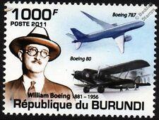 WILLIAM BOEING 787 Dreamliner & Model 80 Airliner Aircraft Stamp (2011)