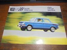 Prospekt Sales Brochure NSU TT 1200ccm 65PS Auto Car Fahrzeug Wagen