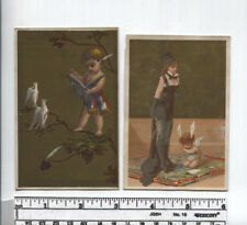Antique AD Card - (2) Gold Ink Background Cards - Cherubs