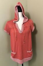 Women's EYESHADOW Orange Polka Dot Stripe Pullover Tunic S/S Hooded Shirt Sz 1X