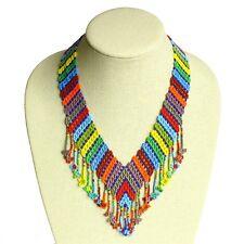 NE192-116 Rainbow Necklace Artisan Hand Bead Glass Multicolor Artisan Fair Trade