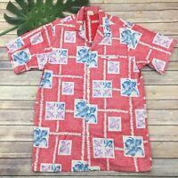 Barefoot in Paradise Vintage Hawaiian Shirt Sz L Tall Red Floral Aloha Tiki