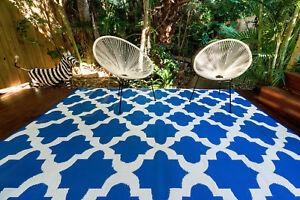 200 x 270cm Morocco Blue Outdoor/Indoor Plastic Rug/Mat Waterproof
