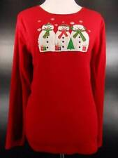 Warm Women's Large Christmas Theme Snowman Design Red Long Sleeve Shirt GUC