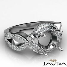 Diamond Antique Engagement Ring 18k White Gold Round Semi Mount Halo Setting 1Ct