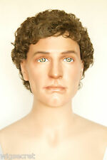Medium Golden Brown Brunette Curly Men Wig