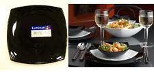 Luminarc Quadrato Black 4 Dinner Plates, Square, Arc Glass dinnerware France
