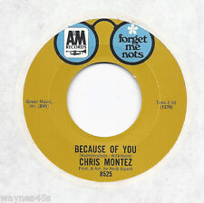 CHRIS MONTEZ * 45 * Because Of You * 1960s * UNPLAYED MINT * RI * FORGET ME NOTS
