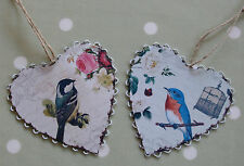 Vintage Style Bird Metal Hearts Decoration Decopage Cage Old Fashioned Retro Tin