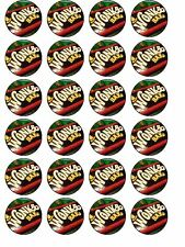 24 X WILLY WONKA CHOCOLATE BARS BIRTHDAY RICE PAPER CAKE TOPPERS